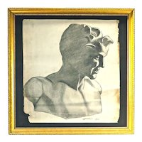 Vintage Neoclassical Style Male Bust Drawing