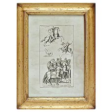 Antique Roman Cavaliers Engraving