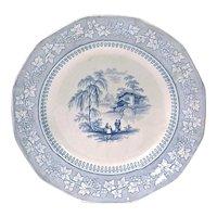 Vintage Ceramic Lake Scene Transferware Plate