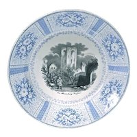 Vintage English Castle Ruins Scene Transferware Plate