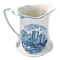 Vintage Ceramic Transferware Castle Pitcher