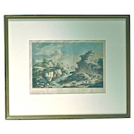 Antique Engraving of a River Scene
