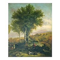 Antique British School Landscape Oil Painting
