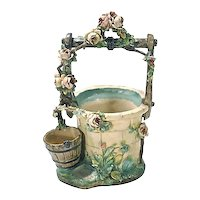 Antique French Majolica Well Cachepot