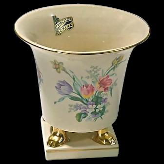Vintage Porcelain Hand-Painted Floral Cachepot