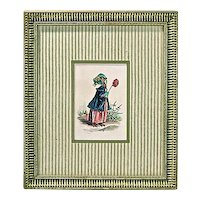 Vintage Bird In Lady's Attire Engraving