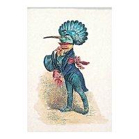 Vintage Bird In Gentleman's Attire Engraving
