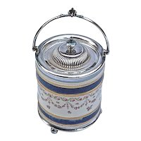English Ceramic & Silver Biscuit Jar