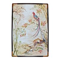 Lakides Chinoiserie Bird Painting Signed