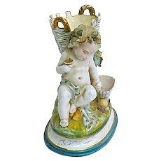 Majolica Antique Cherub Figurine Vase