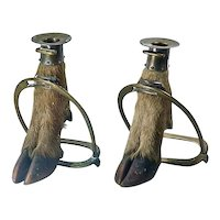 Pair Of Antique Hoof/Stirrup Candleholders