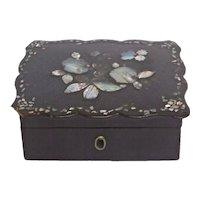Antique French Papier Mache Shell Floral Box