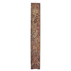 Antique French Carved Long Floral Wall Plaque