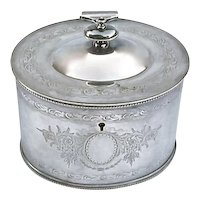 English Silverplated Lidded Biscuit Jar