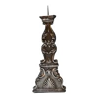 Antique Indo-Portuguese Silver Mounted Teak Candlestick