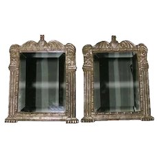 Rare Pair of Antique Indo-Portuguese Silver Frames with Mirrors