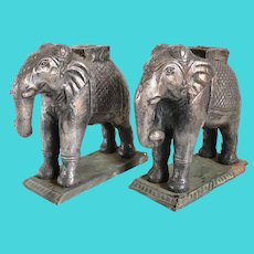 Pair of Antique Indian Silver Mounted on Teak Elephant Statues