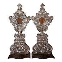 Pair of Large Antique Indo-Portuguese Silver Mounted Reliquaries