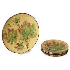 Set of Five German Zell Majolica Maple Leaf Pattern Plates