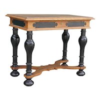 Danish Renaissance Revival Ebonized and Oak One-Drawer Side Table