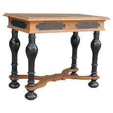 Danish Renaissance Revival Ebonized and Oak One-Drawer Side Table
