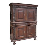 French Provincial Louis XIII Style Oak Buffet a Deux Corps