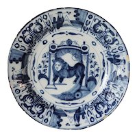 Dutch Delft De Klauw Blue and White Pottery Lion and Torah Judaica Charger