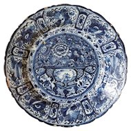 Early Dutch De Porceleyne Lampetkan Delft Blue and White Pottery Charger