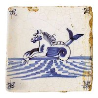 Two Dutch Delft Blue and White Maritime Pottery Tiles