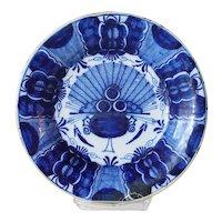 Dutch De Drie Klokken Delft Blue and White Pottery Peacock Pattern Plate