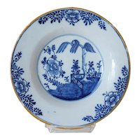 Dutch De Porceleyne Bijl Delft Chinese Export Style Blue and White Pottery Plate