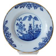 Dutch Delft Chinese Export Style Blue and White Yellow Rim Pottery Plate