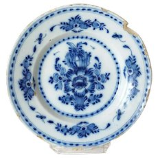 Dutch Delft Blue and White Pottery Floral Plate
