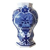 Dutch De Klauw Delft Blue and White Pottery Peacock Garniture Baluster Vase