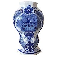 Dutch Delft Blue and White Pottery Peacock Vase