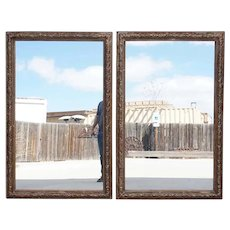 Large Pair of French Gilt Gesso Framed Rectangular Mirrors