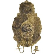 Italian Baroque Brass Repousse Two-Light Wall Sconce