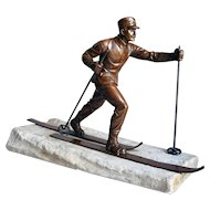Continental W. ZOLL Bronzed Metal Cross Country Skier Statue