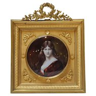 Signed French Limoges Enamel Portrait of a Lady after Henner