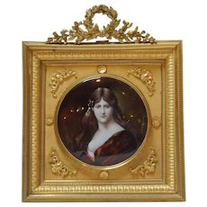 Signed French Limoges Enamel Portrait of a Lady after Henner
