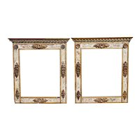 Large Pair of Indo-Portuguese Parcel Gilt, Painted, Gesso Teak Frames