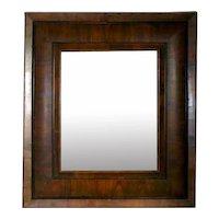 Rare Dutch Baroque Figured Cherrywood Pillow Molded Mirror