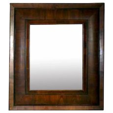 Rare Dutch Baroque Figured Cherrywood Pillow Molded Mirror