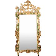 Important Large Italian Rococo Gilt and Painted Diamond Dust Mirror