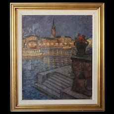 GUNNAR EMIL WEINBERG Oil on Canvas Painting, Copenhagen Harbor at Night