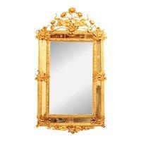 French Art Nouveau Gilt Gesso Mirror