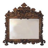 Small Early Italian Rococo Giltwood Mirror