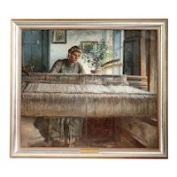 JOHANNES WILHJELM Original Oil on Canvas Painting, Anna at the Loom