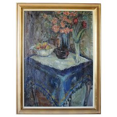 SOREN HJORTH-NIELSEN Oil on Canvas Painting, Still Life, The Blue Tablecloth