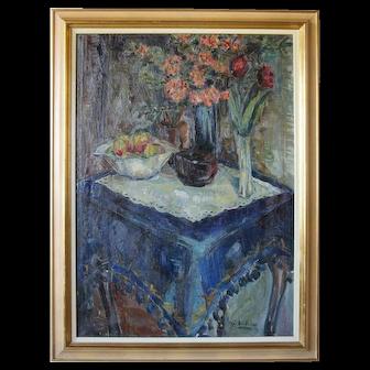 SOREN HJORTH-NIELSEN Oil on Canvas Painting, Still Life, The Blue Tablecloth